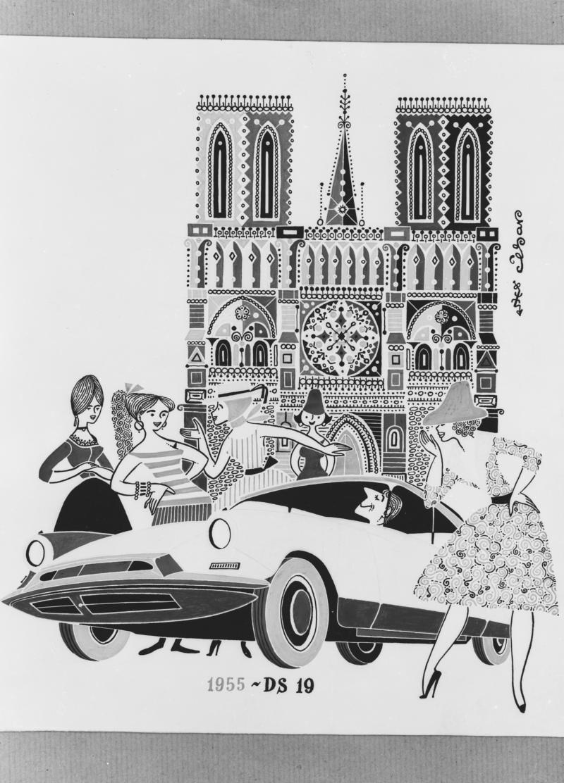 Publicité DS 19 - Paris - 1955