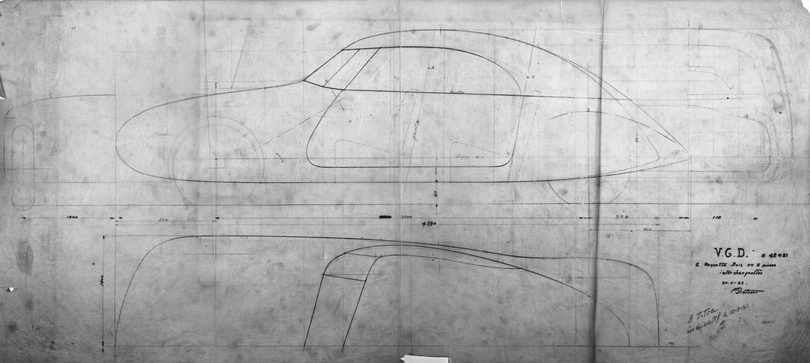 Dessin de style DS - Bertoni Flaminio - 1945