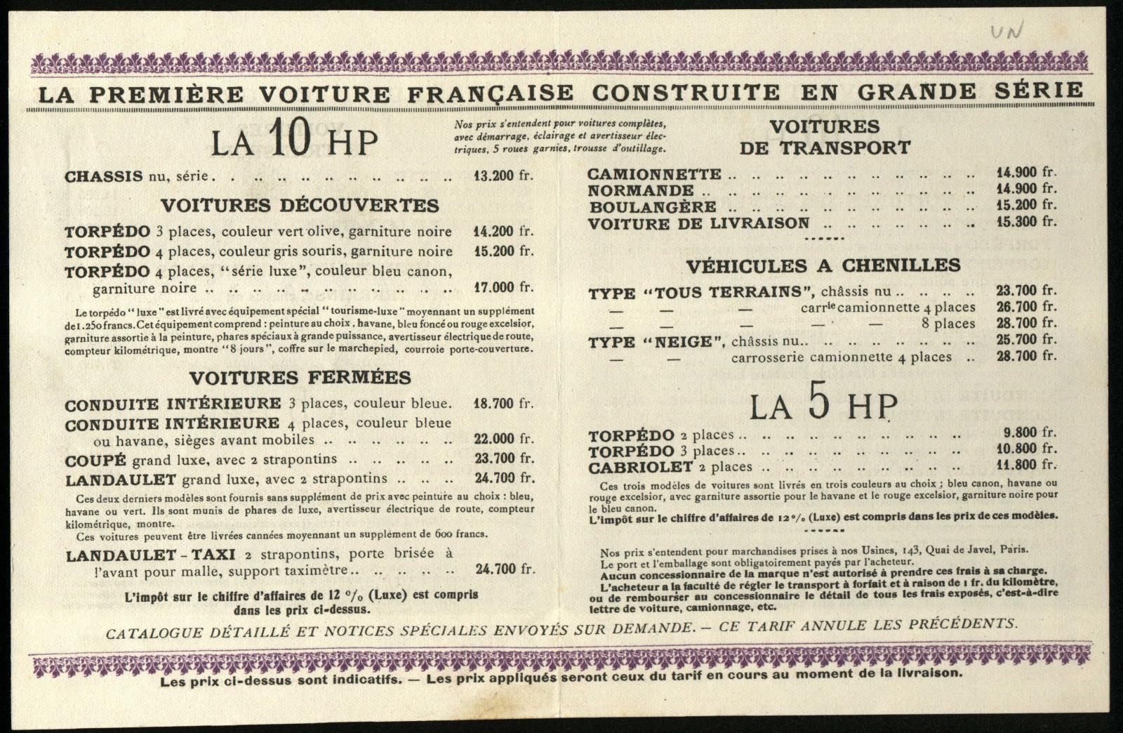 Tarifs 5 HP 1924
