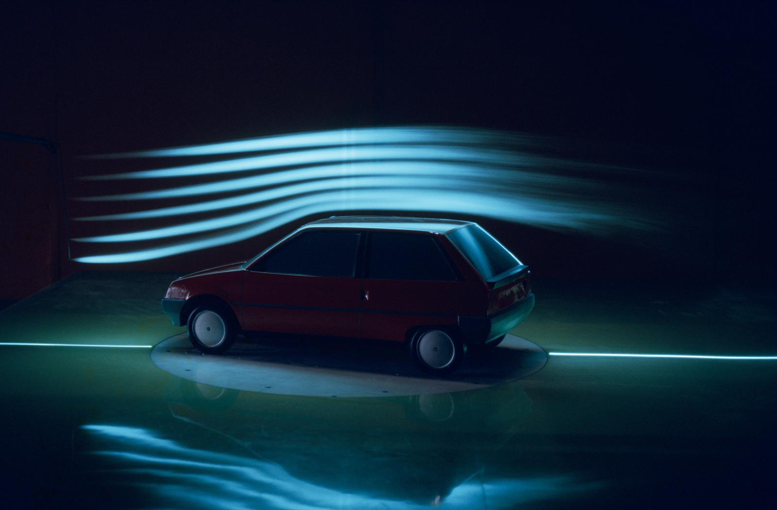 Test de l'aérodynamisme de l'AX en 1986