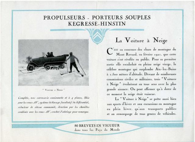 Propulseurs - Porteurs souples - La voiture à Neige Citroën